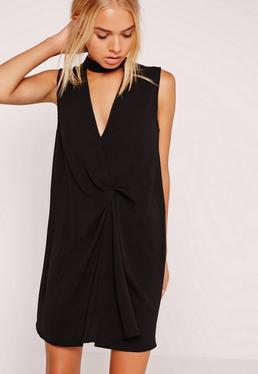 Choker Knot Front Dress Black