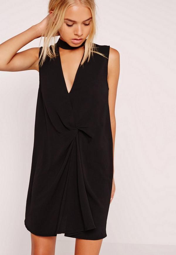 Choker Knot Front Dress Black