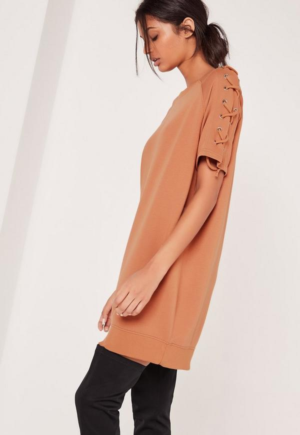 Lace Up Sleeve Sweatshirt Dress Camel
