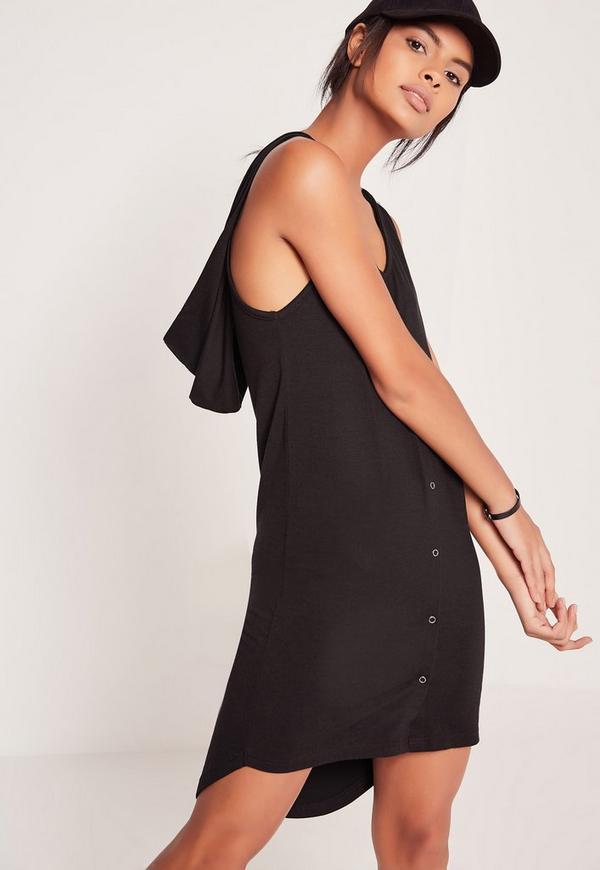 Hooded Popper Dress Black