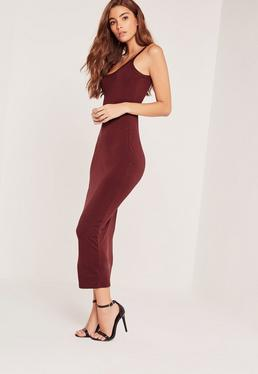 Strappy Long Midi Jersey Dress Burgundy