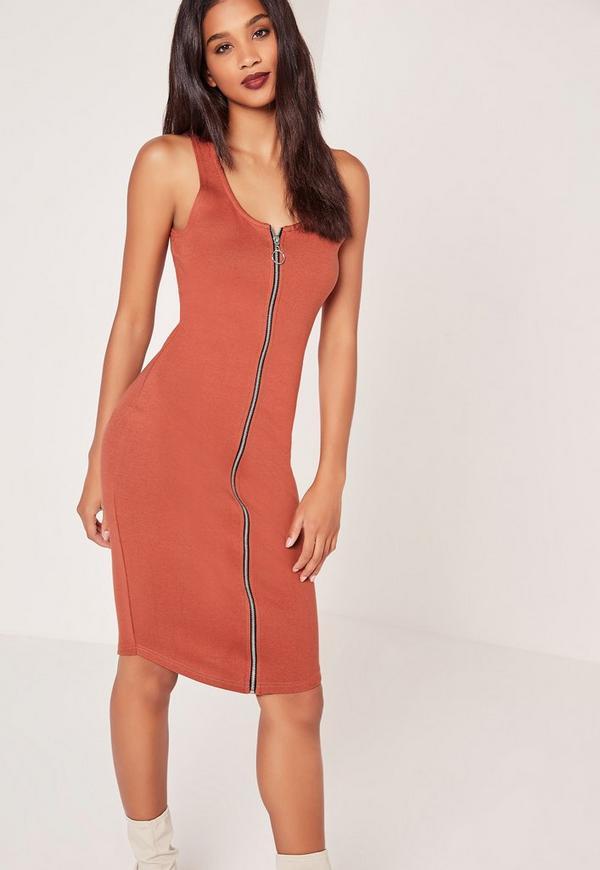 Zip Midi Dress Red