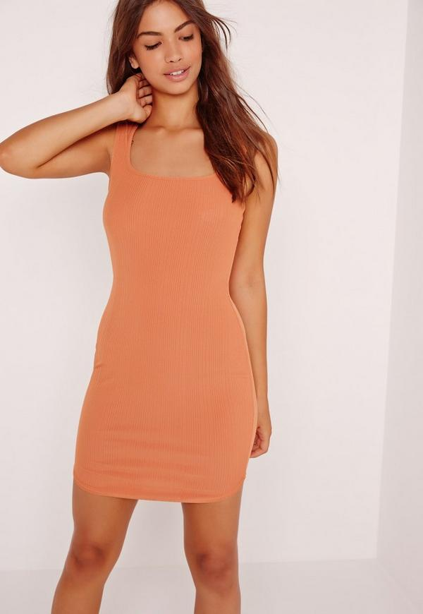 Rib Bodycon Mini Dress Orange