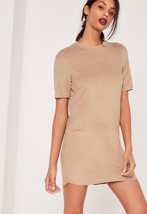 Perforated Faux Suede Shift Dress Nude