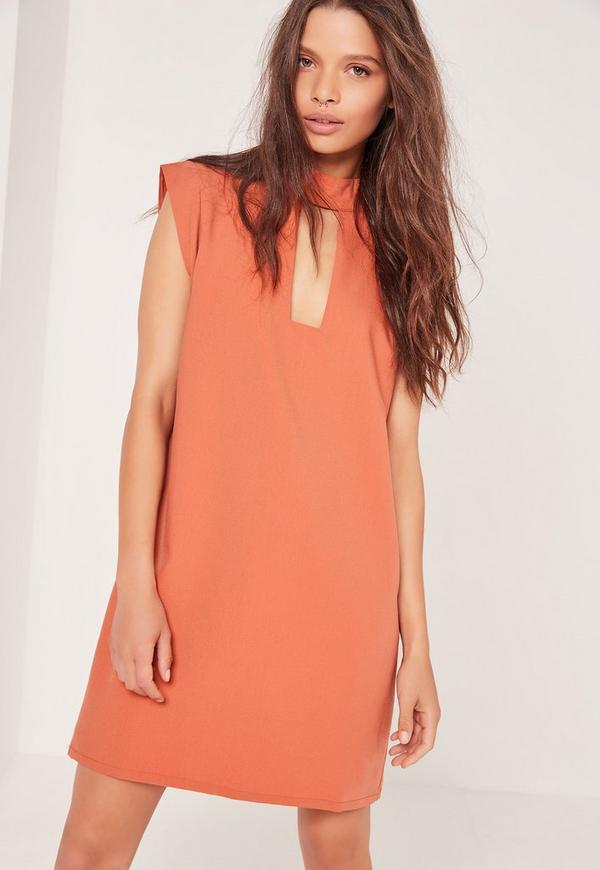 Buckle Neck Shift Dress Orange