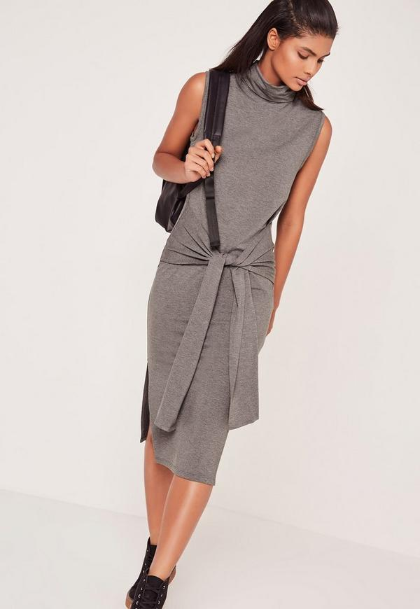 Roll Neck Tie Front Split Midi Dress Grey