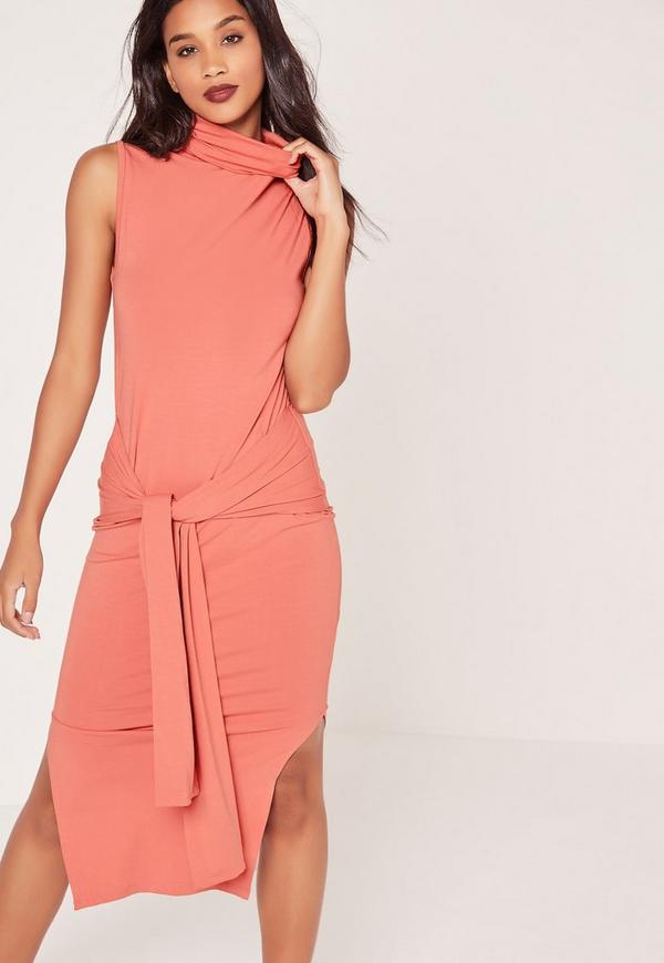 Roll Neck Tie Front Split Midi Dress Pink