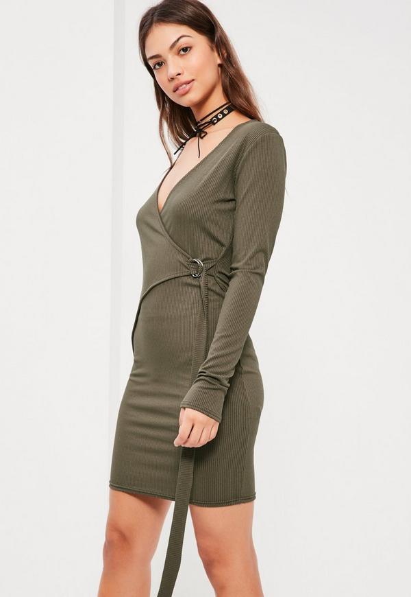 Khaki Ring Side Wrap Bodycon Dress