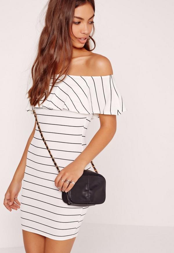 Stripe Bodycon Mini Dress White