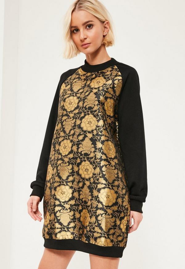 Jacquard Jumper Dress Gold