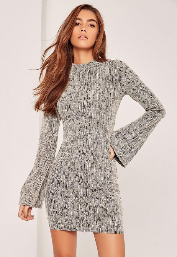 Grey Bell Sleeve Tweed High Neck Dress
