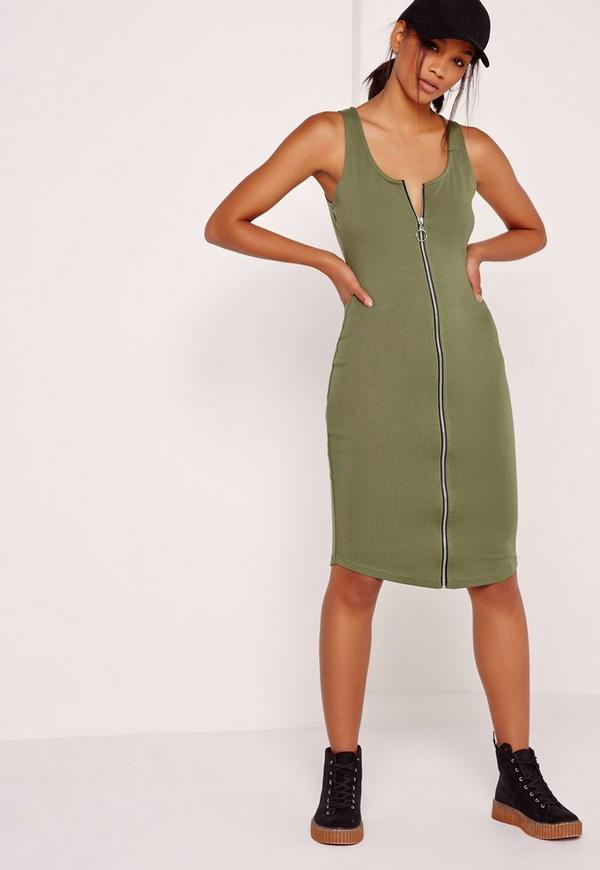 Zip Midi Dress Khaki
