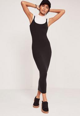 Strappy Long Midi Jersey Dress Black