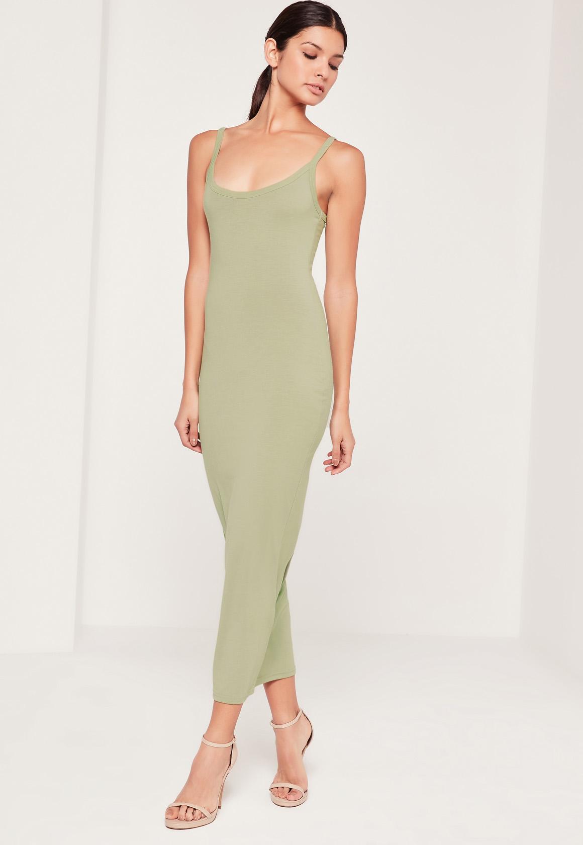 Strappy Long Midi Jersey Dress Green