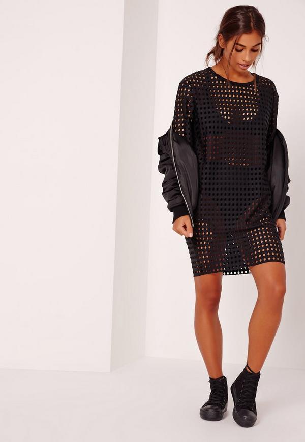 Fishnet T-Shirt Dress Black | Missguided
