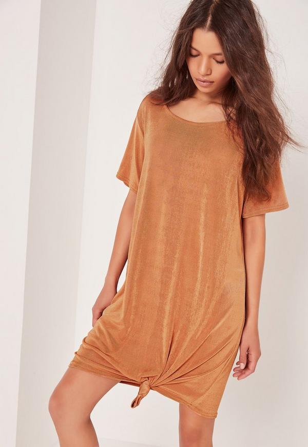 Slinky Knot Front Dress Orange