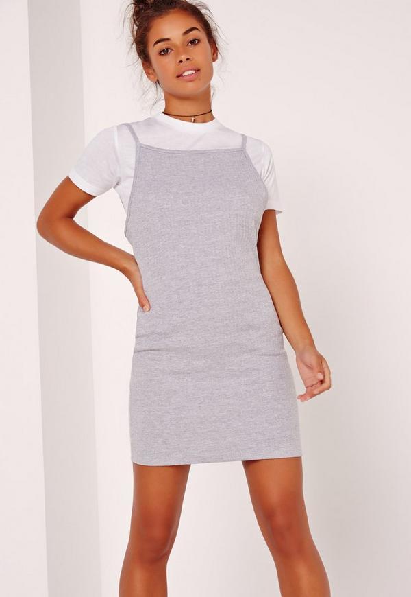 Rib 2 in 1 T-Shirt Dress Grey
