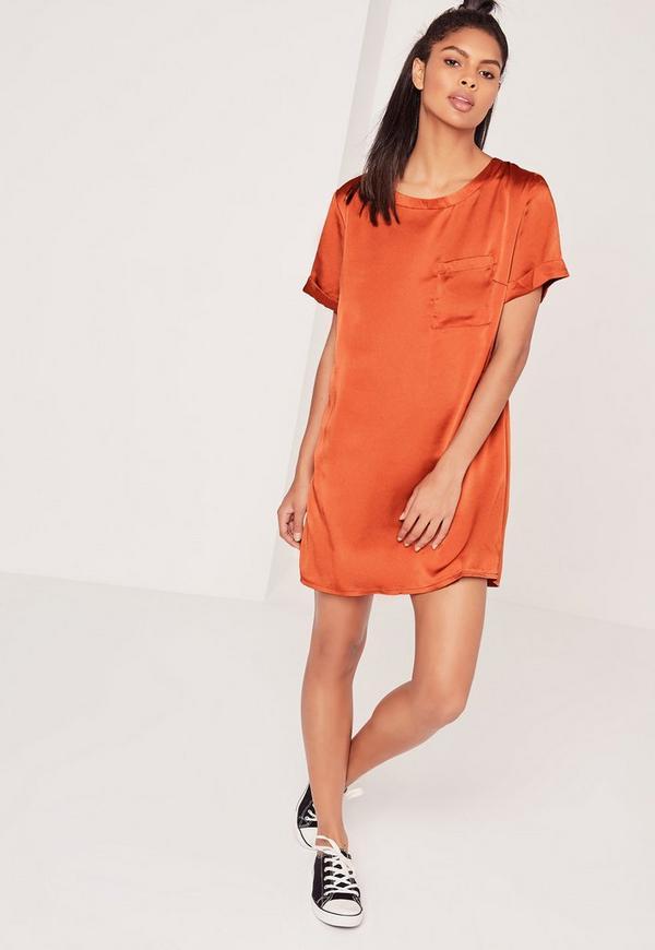 Satin Pocket Shift Dress Spicy Amber Orange