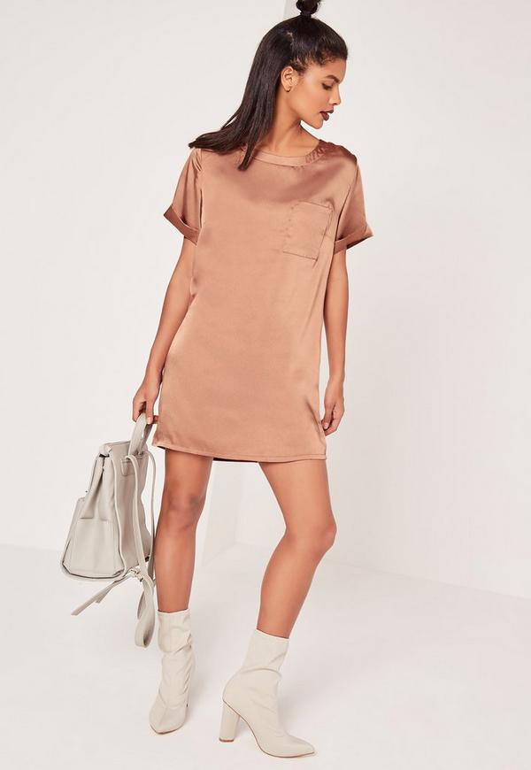 Satin Pocket Shift Dress Brown
