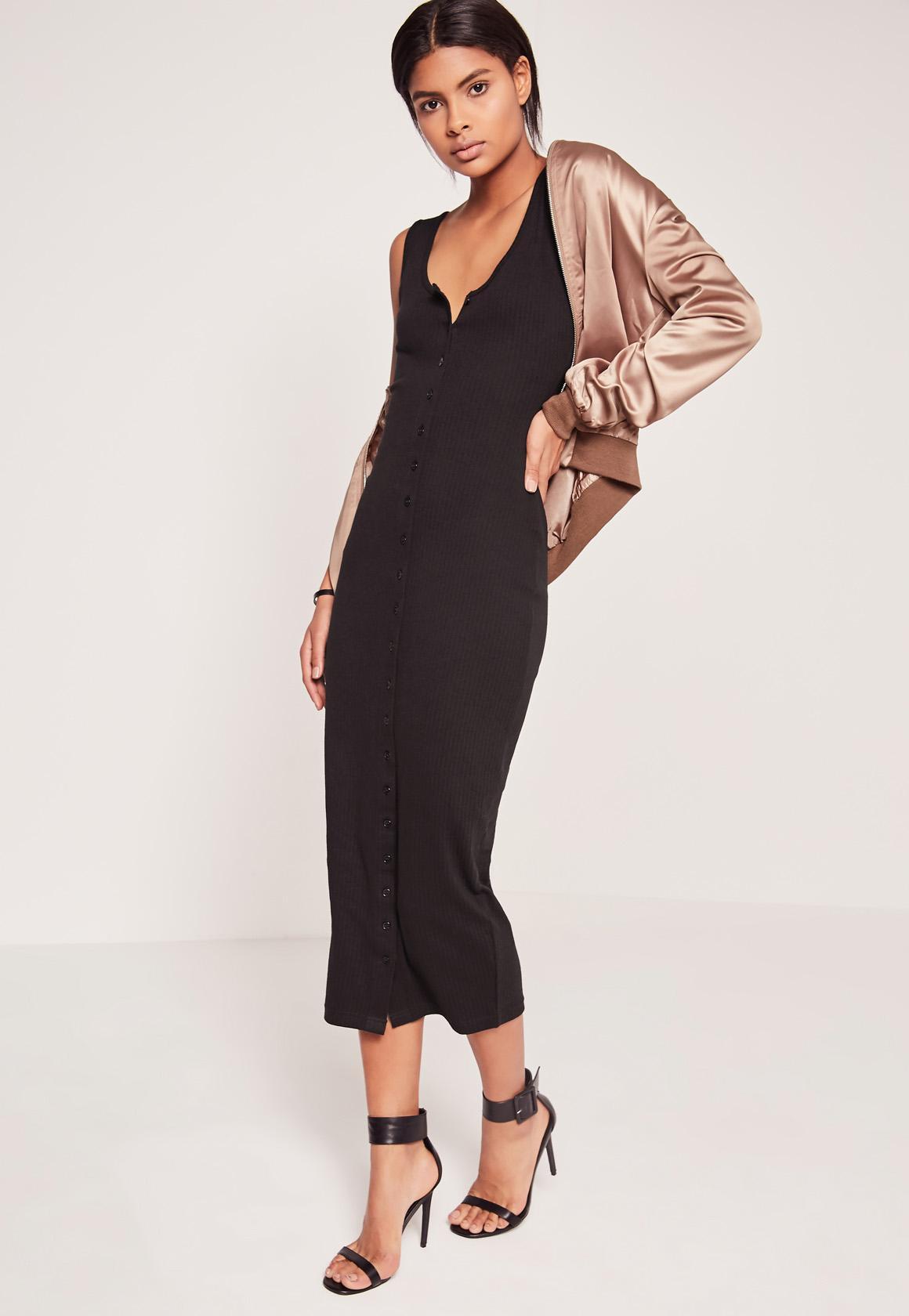 Rib Button Front Midi Dress Black