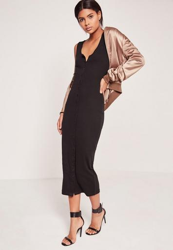 Rib Button Front Midi Dress Black Missguided
