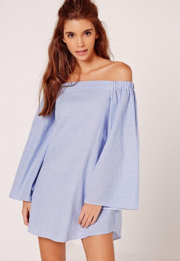 Stripe Long Sleeve Bardot Dress Blue