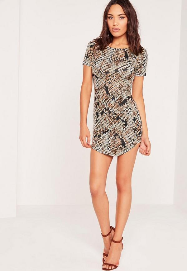 Snake Curve Hem Mini Dress Multi