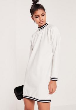 Robe-sweat blanche texturée bandes contrastantes
