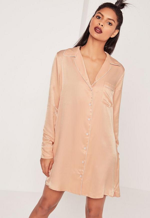 Silky Shirt Dress Nude