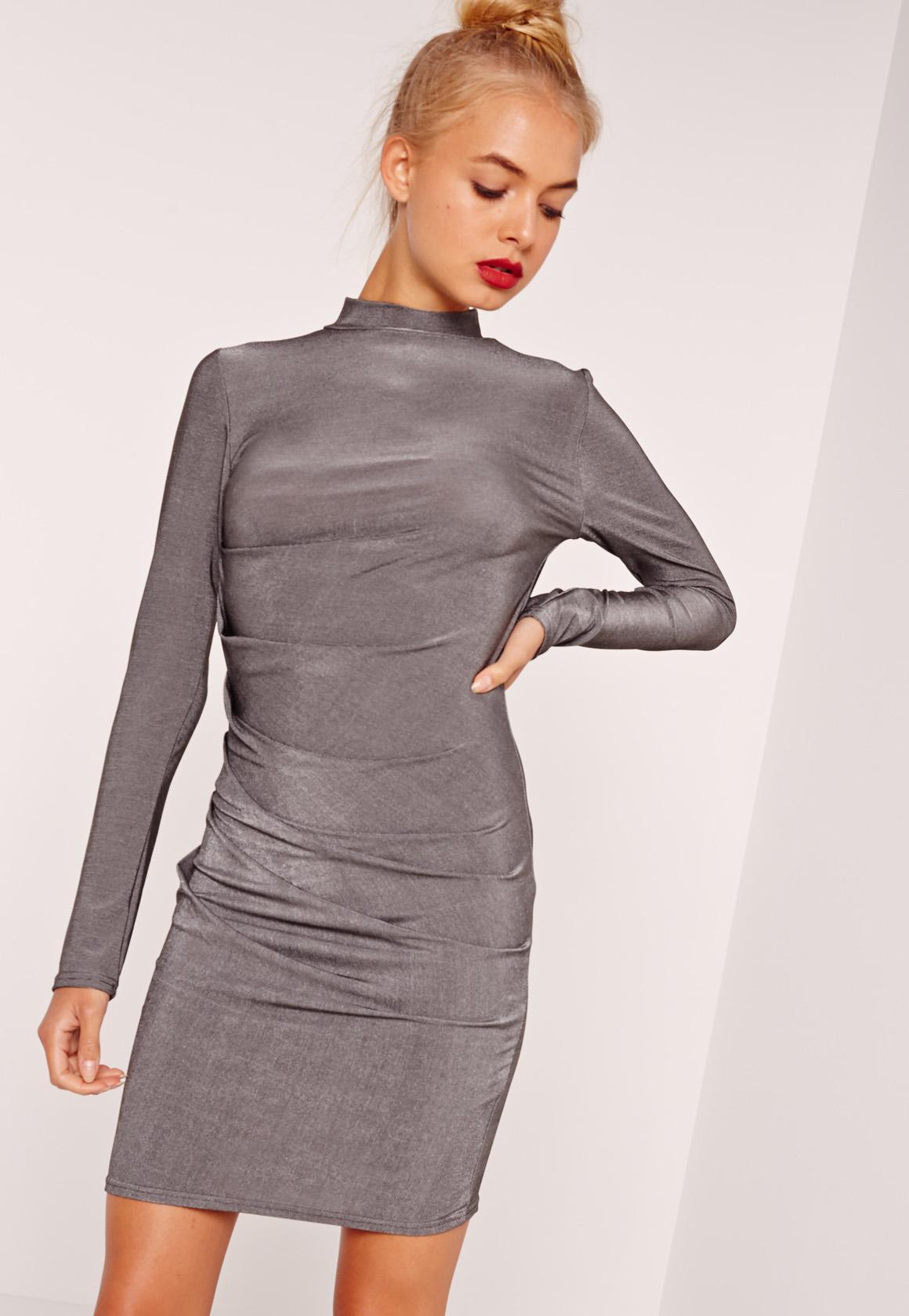 Long Sleeve Bodycon Dress Silver