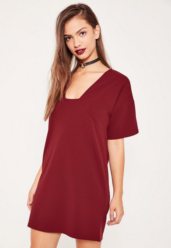 Burgundy Square Neck A Line Dress