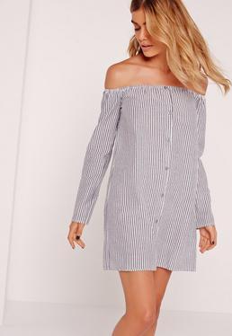 Button Up Bardot Stripe Dress Black
