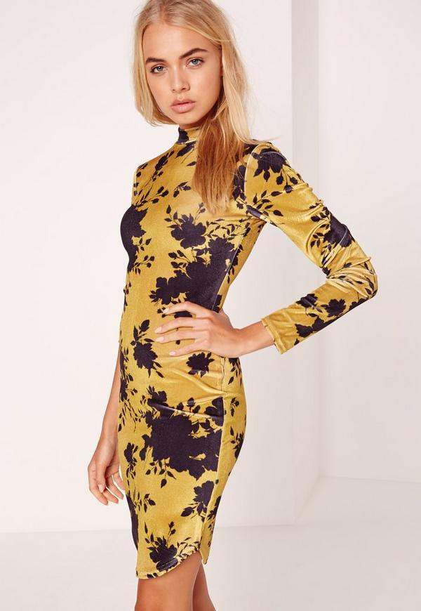 Long Sleeve Velvet Floral Bodycon Dress Yellow
