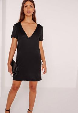 V Neck Satin T-Shirt Dress Black