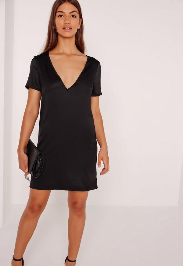 V Neck Satin T-Shirt Dress Black | Missguided
