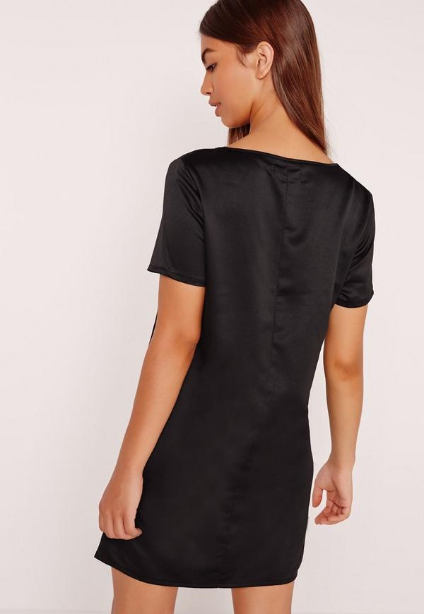 V neck satin t shirt dress black missguided V neck black t shirt