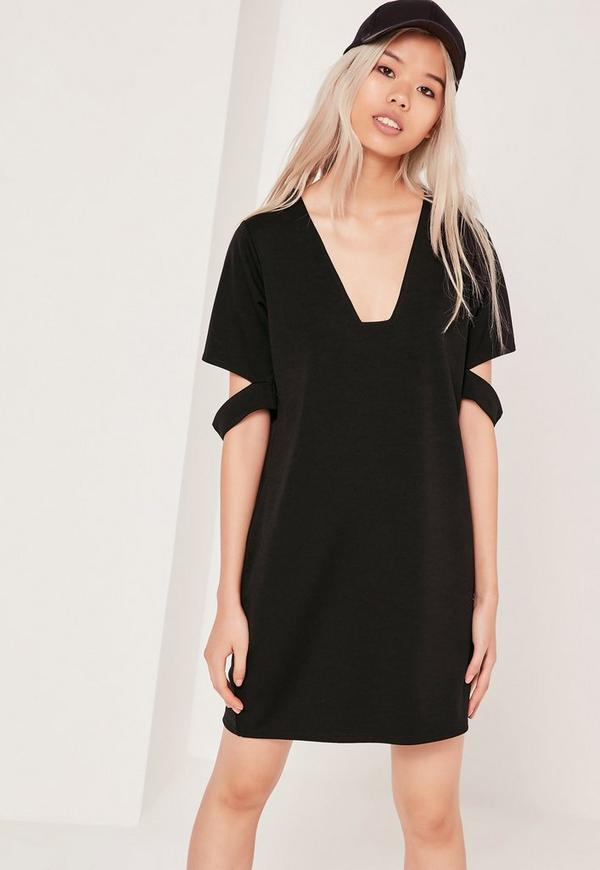 Square Neck Cut Out Sleeve Dress Black