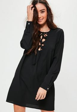 Scallop Front Lace Up Shift Dress Black