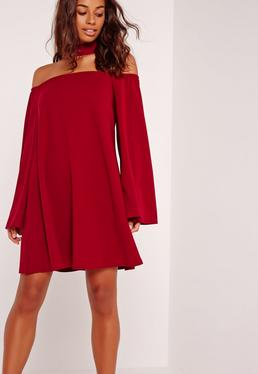 Choker Neck Bardot Dress Burgundy