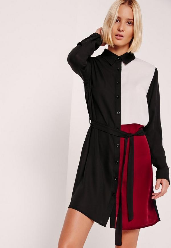 Colour Block Shirt Dress Black