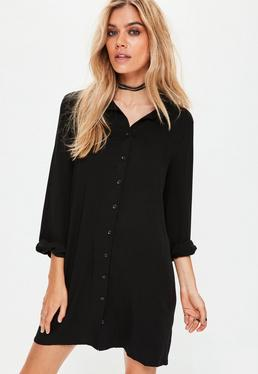 Black Oversized Shirt Dress