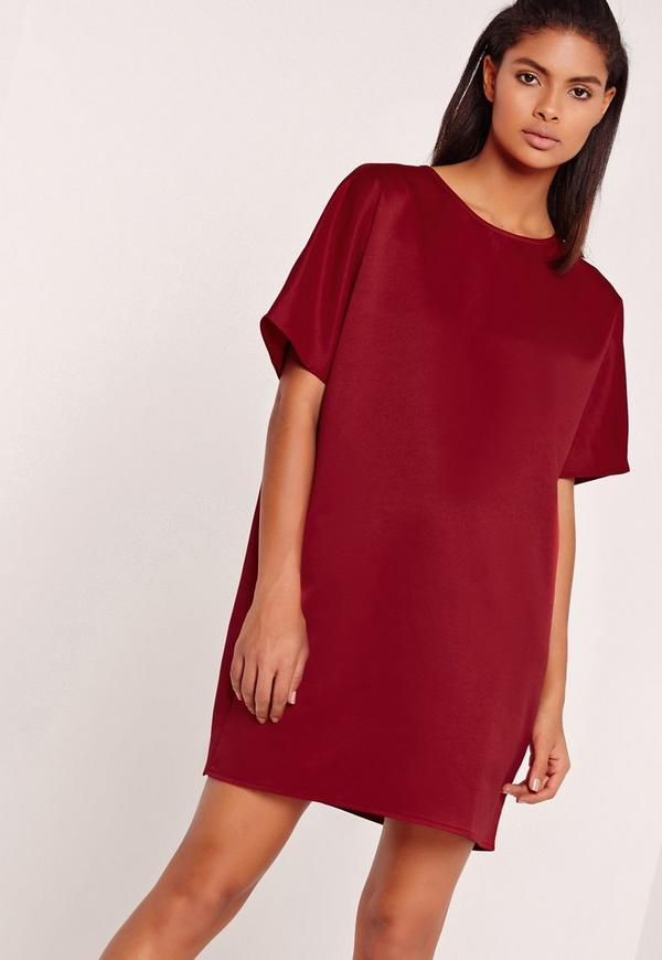 Satin Shift Dress Red