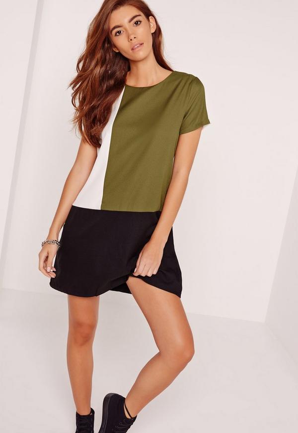Colour Block Shift Dress Multi