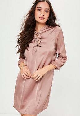 Lace Up Front Shift Dress Pink
