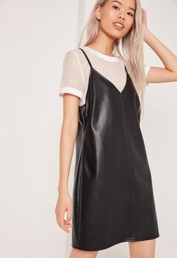 Robe 2 en 1 en simili cuir noir