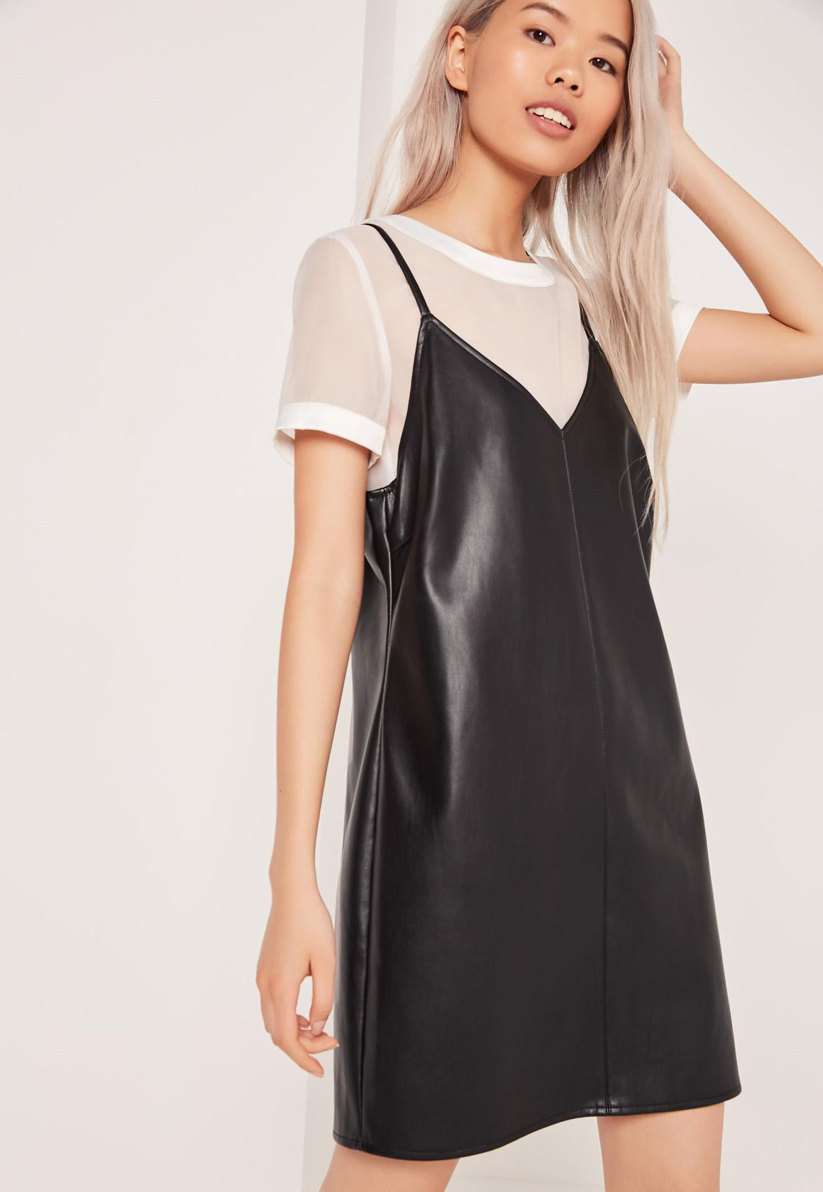 Two In One Faux Leather Dress Black