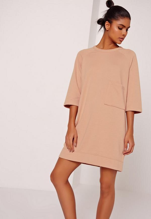 Oversized Pocket Front Dress Nude
