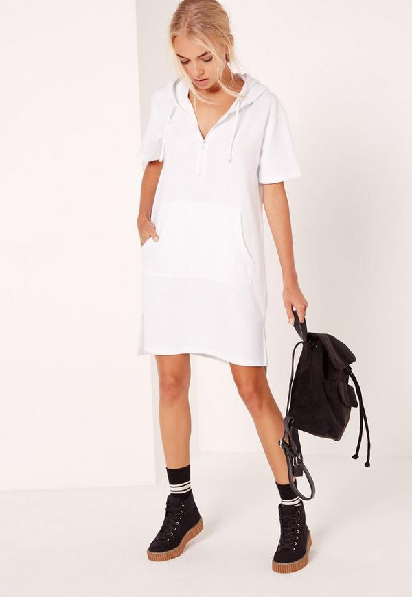 Oversized Zip Front Sweatshirt Dress White
