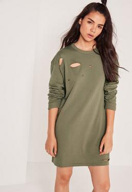 Ripped Oversized Sweatshirt Dress Khaki