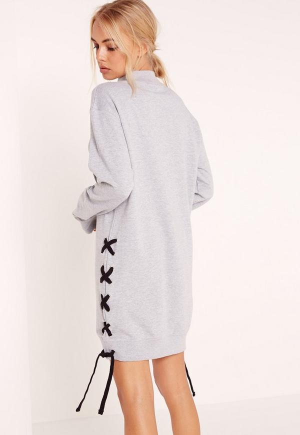 robe pull grise oversize lacets contrastants missguided. Black Bedroom Furniture Sets. Home Design Ideas